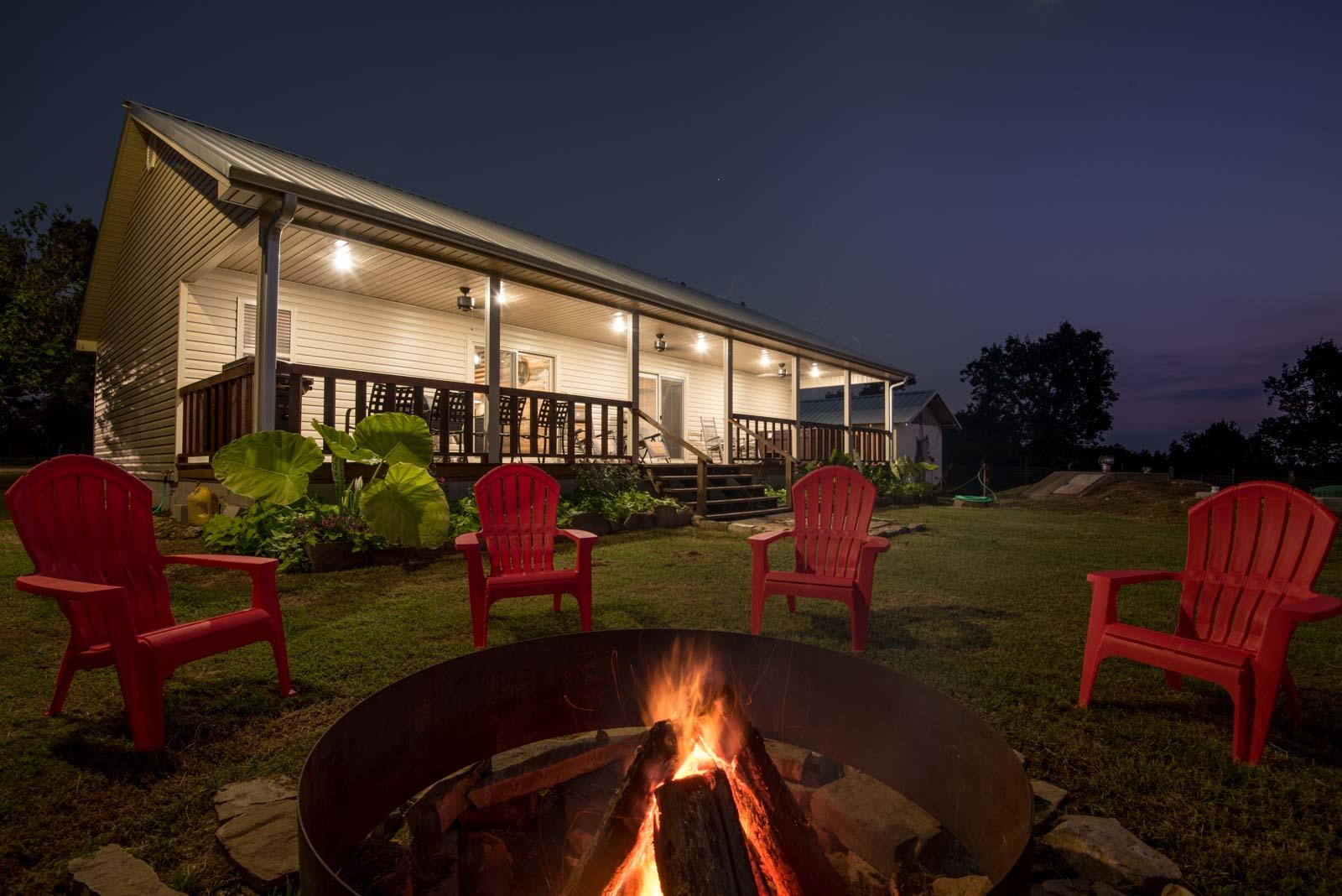 firepit outside cabin